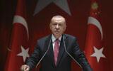 Turkey's President Recep Tayyip Erdogan addresses his party members, in Ankara, Turkey, Thursday, Aug. 13, 2020.  (Turkish Presidency via AP, Pool)
