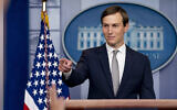 White House senior adviser Jared Kushner speaks at a press briefing at the White House in Washington, following the announcement  of Israel's normalization agreement with the UAE, August 13, 2020. (AP Photo/Andrew Harnik)