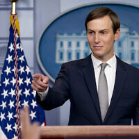 White House senior adviser Jared Kushner speaks at a press briefing in the James Brady Press Briefing Room at the White House in Washington, Thursday, Aug. 13, 2020, after President Donald Trump announced that the United Arab Emirates and Israel have agreed to establish full diplomatic ties. (AP Photo/Andrew Harnik)