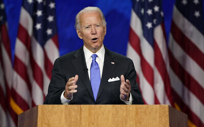 Democratic presidential candidate  Joe Biden speaks during the fourth day of the Democratic National Convention, Thursday, Aug. 20, 2020, at the Chase Center in Wilmington, Del. (AP/Andrew Harnik)