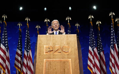 Democratic presidential candidate former Vice President Joe Biden speaks during the fourth day of the Democratic National Convention, Aug. 20, 2020, at the Chase Center in Wilmington, Delaware (AP Photo/Andrew Harnik)