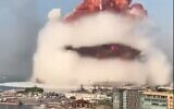 Screen capture from video of a massive explosion that rocked Beirut, Lebanon, August 4, 2020. (Twitter)