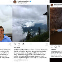 "Screenshots from Madison Cawthorn's Instagram account show pictures from a 2017 visit to the site of a Nazi retreat used frequently by Hitler. In the caption of the now-deleted pictures, Cawthorn called Hitler ""the Führer."" (Twitter via JTA)"