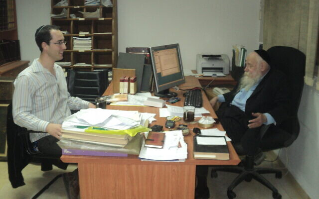 Journalist Nathan Jeffay (left) interviews Rabbi Adin Steinsaltz in his Jerusalem office, March 2011. (Nathan Jeffay)