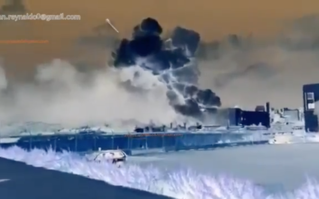 An image from a doctored video claiming to show a missile hitting Beirut's port and causing a massive explosion on August 4, 2020. (Screen capture: Twitter)