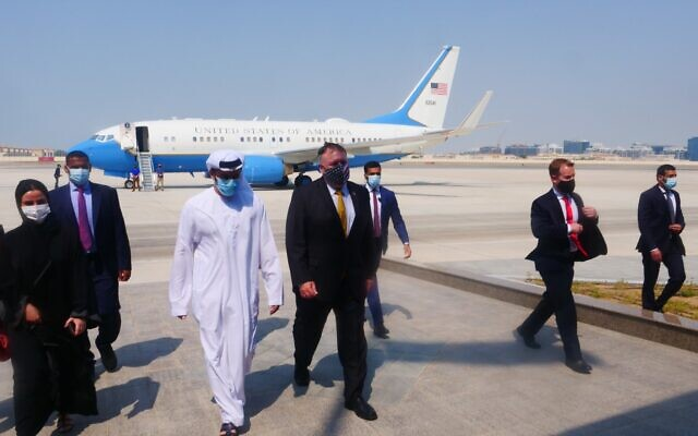 US Secretary of State Mike Pompeo arrives in the United Arab Emirates on August 26, 2020 (Twitter)