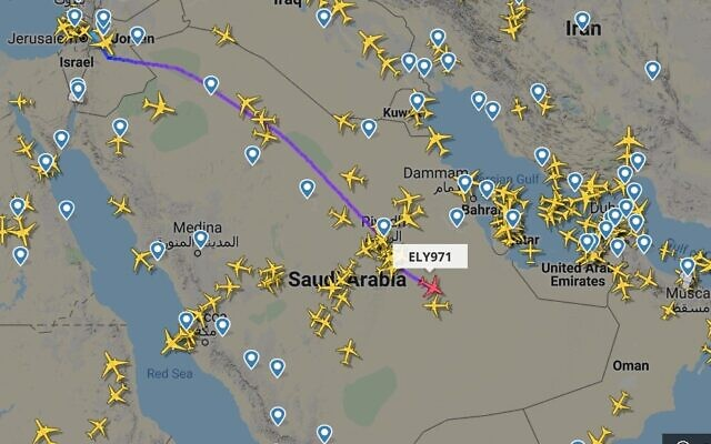 An El Al plane seen on a flight tracking website as it makes the first commercial flight between Israel and the United Arab Emirates, by crossing Saudi Arabian airspace, on August 31, 2020. (screen capture: FlightRadar24)