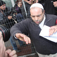 Yona Avrushmi, who in 1983 murdered Peace Now activist Emil Grunzweig at a protest, on his release from the Hadarim prison, Jan 26 2011 (Flash90)