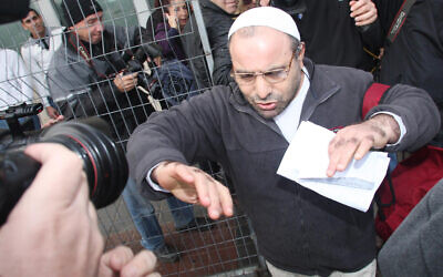 Yona Avrushmi, who in 1983 murdered Peace Now activist Emil Grunzweig at a protest, on his release from the Hadarim prison on January 26, 2011. (Flash90)