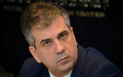 Then-economy minister Eli Cohen at a meeting in Tel Aviv, April 1, 2019. (Flash90)