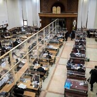 Ultra Orthodox Jewish men study at the Gur Imrei Emes yeshiva in Bnei Brak, June 16, 2020 (Yossi Zeliger/Flash90)