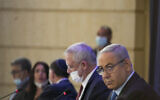 Prime Minister Benjamin Netanyahu (R) and Defense Minister Benny Gantz at the weekly cabinet meeting at the Foreign Ministry in Jerusalem on June 28, 2020. (Olivier Fitoussi/Flash90)