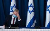 Benny Gantz at the weekly cabinet meeting in Jerusalem on July 5, 2020. (Amit Shabi/POOL)