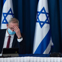 Benny Gantz at the weekly cabinet meeting in Jerusalem on July 5, 2020. (Amit Shabi/POOL)