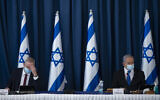 Prime Minister Benjamin Netanyahu, right, and Defense Minister Benny Gantz at the weekly cabinet meeting at the Ministry of Foreign Affairs in Jerusalem, on July 5, 2020. (Amit Shabi/Flash90)