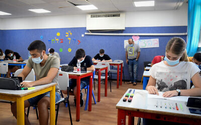 Illustrative: Yehud Comprehensive High School students take their mathematics English matriculation examination (Bagrut), in Yehud, July 8, 2020. (Yossi Zeliger/Flash90)