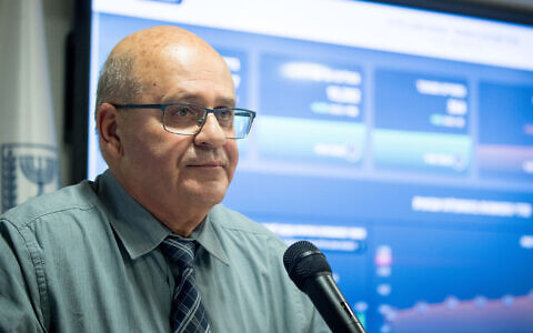 Health Ministry Director-General Chezy Levy during a press conference in Jerusalem about the coronavirus on July 13, 2020. (Yonatan Sindel/Flash90)