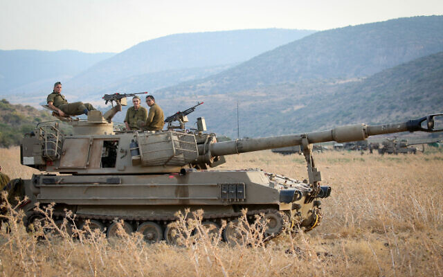 Israeli army forces seen stationed near the Lebanese border on July 27, 2020. (David Cohen/Flash90)