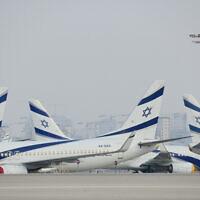 Parked airplanes at Ben Gurion International Airport on August 8, 2020. (Tomer Neuberg/FLASH90)