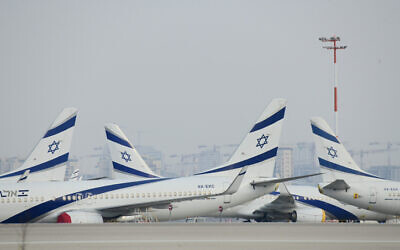 Parked airplanes at Ben Gurion International Airport on August 8, 2020. (Tomer Neuberg/FLASH90)