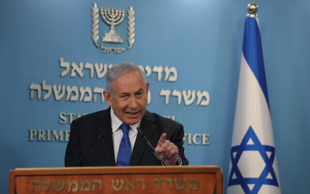Israeli Prime Minister Benjamin Netanyahu discusses the agreement for Israel and the UAE to establish diplomatic relations, at the Prime Minister's Office in Jerusalem, on August 13, 2020. (Yonatan Sindel/FLASH90)