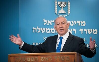 Prime Minister Benjamin Netanyahu discusses the Israel-UAE normalization deal at the Prime Minister's Office in Jerusalem, on August 13, 2020. (Yonatan Sindel/Flash90)
