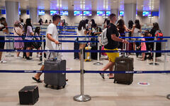 The departure hall at the Ben Gurion International Airport, on August 16, 2020. (Avshalom Sassoni/Flash90)