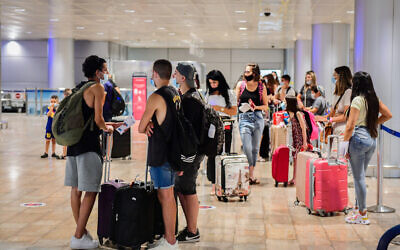 The departure hall at the Ben Gurion International Airport on August 16, 2020. (Avshalom Sassoni/Flash90)