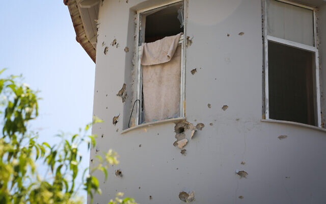 View of damage to a house caused by part of an Iron Dome rocket, fired to intercept rocket fire from the Gaza Strip, in the southern Israeli city of Sderot, August 16, 2020. (Flash90)