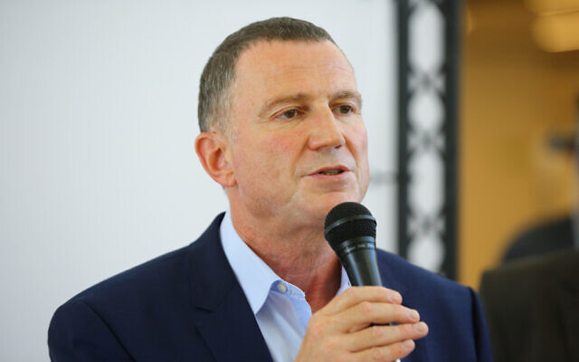 Health Minister Yuli Edelstein holds a press conference during his visit at the Assuta hospital in Ashdod on August 20, 2020. (Flash90)