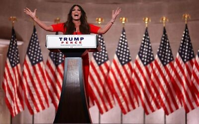 Kimberly Guilfoyle prerecords her address to the Republican National Convention at the Mellon Auditorium in Washington, DC on August 24, 2020. (Chip Somodevilla/Getty Images via JTA)