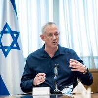 Defense Minister Benny Gantz speaks to local leaders from southern Israel, August 19, 2020. (Oded Karni/GPO)