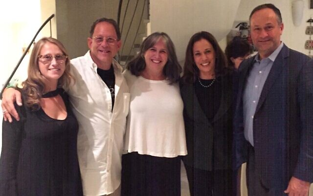 An undated photo of US Sen. Kamala Harris (second from right) with her husband Doug Emhoff (R) at Shabbat dinner at the Jerusalem home of hosts Yosef Abramowitz, second from left, his wife Rabbi Susan Silverman (center), and their daughter (Courtesy of Yosef Abramowitz)