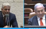 Opposition Leader Yair Lapid (L) and Prime Minister Benjamin Netanyahu at the Knesset on August 12, 2020. (Screen capture: Twitter)
