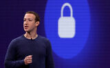 Facebook CEO Mark Zuckerberg speaks during the F8 Facebook Developers conference on May 1, 2018 in San Jose, California. (Justin Sullivan/Getty Images, via JTA)