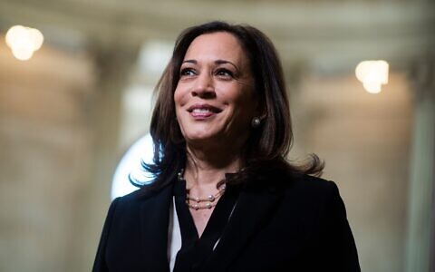 Sen. Kamala Harris in the Russell Senate Office Building, June 24, 2020. (Tom Williams/CQ Roll Call/Getty Images/ via JTA)