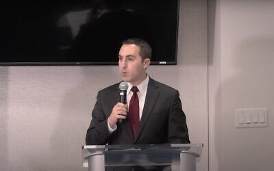 Screen capture from video of Richard Goldberg, who  worked on Iranian issues at the National Security Council. (YouTube)
