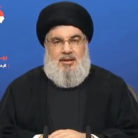 Hezbollah secretary general Hassan Nasrallah gives a speech in the aftermath of the deadly explosion in Beirut, on August 7, 2020 (al-Manar screenshot)