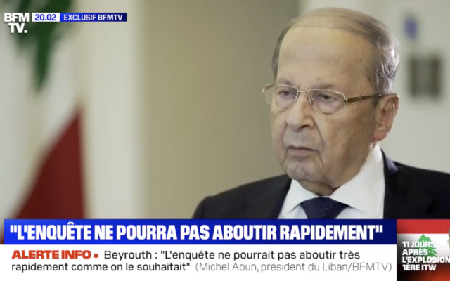 Lebanese President Michel Aoun speaks with French television network BFM TV on August 15, 2020. (Screenshot)