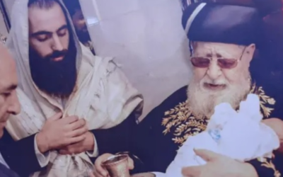 Rabbi Shai Ohayon, who was stabbed to death in an apparent terror attack at Segula Junction on August 26, 2020, at the circumcision of his son with Rabbi Ovadya Yosef (right). (Courtesy)