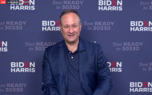US vice presidential candidate Kamala Harris's husband Doug Emhoff appears at a campaign event for Florida Jews on August 28, 2020. (Screen capture/Zoom)
