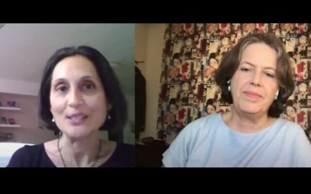 The Times of Israel startup and economics editor Shoshanna Solomon (left) interviews Israeli economist Nadine Baudot-Trajtenberg (YouTube screenshot)