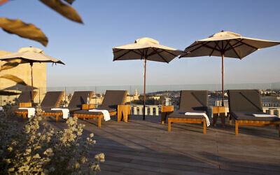 The empty sundeck at the Mamilla Hotel, which reopened on July 1, and is slowly trying to access Israeli guests (Courtesy Mamilla Hotel)