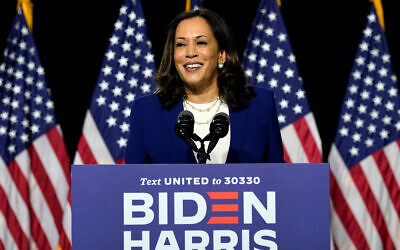 Senator Kamala Harris, a California Democrat, speaks after Democratic presidential candidate Joe Biden introduced her as his running mate during a campaign event at Alexis Dupont High School in Wilmington, Delaware, August 12, 2020. (AP Photo/Carolyn Kaster)