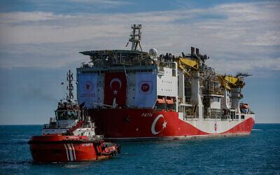 Turkey's drilling ship, Fatih, sails through the Bosphorus toward the Black Sea in Istanbul, May 29, 2020. (AP Photo/Emrah Gurel)