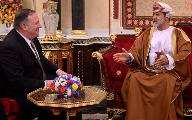 US Secretary of State Mike Pompeo, left, meets with Oman's Sultan Haitham bin Tarik Al Said, at al-Alam palace in the Omani capital of Muscat, February 21, 2020. (Andrew Caballero-Reynolds/Pool via AP)