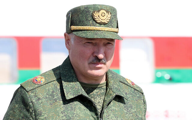 Belarusian President Alexander Lukashenko arrives to attend a meeting with military officials in Grodno, Belarus, August 22, 2020. (Sergei Shelega/BelTA Pool Photo via AP)