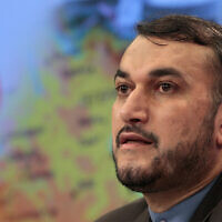 Iranian official, Hossein Amir-Abdollahian, then deputy foreign minister, speaks during a press conference in Moscow, Russia, August 3, 2012. (AP Photo/Misha Japaridze)