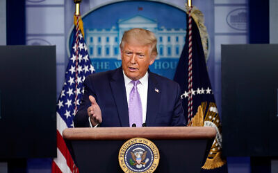 US President Donald Trump speaks at a news conference at the White House in Washington, August 13, 2020. (AP Photo/Andrew Harnik)