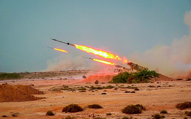 Missiles are fired in an Iranian military exercise by the Islamic Revolutionary Guards Corps, on July 28, 2020. (Sepahnews via AP)